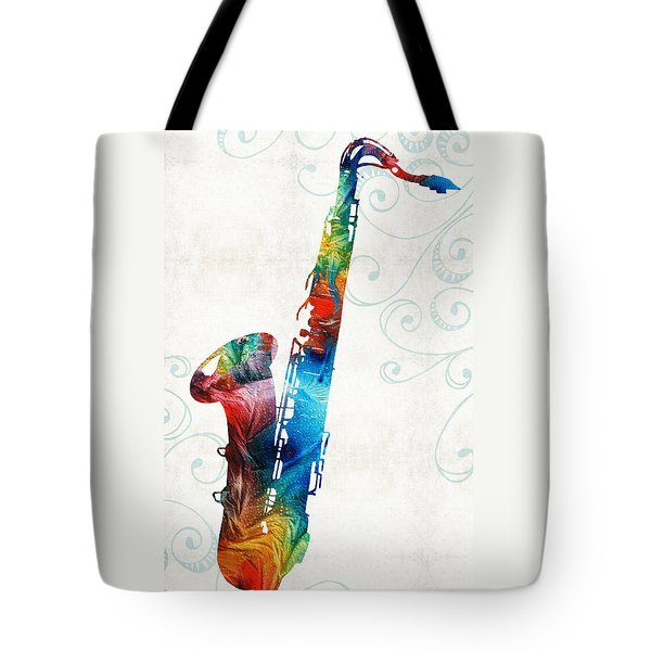 Colorful Saxophone 3 By Sharon Cummings Tote Bag