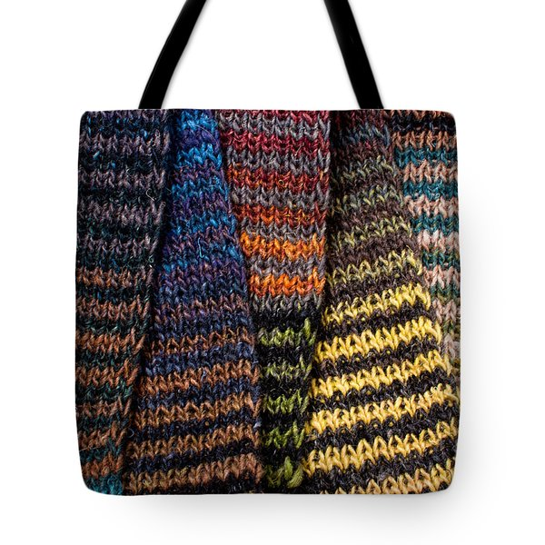 Tote Bag featuring the photograph Colorful Scarves by Les Palenik