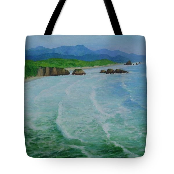 Colorful Seascape Oregon Cannon Beach Ecola Landscape Art Painting Tote Bag