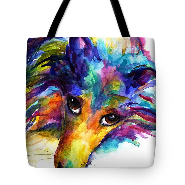 Colorful Sheltie Dog Portrait Tote Bag