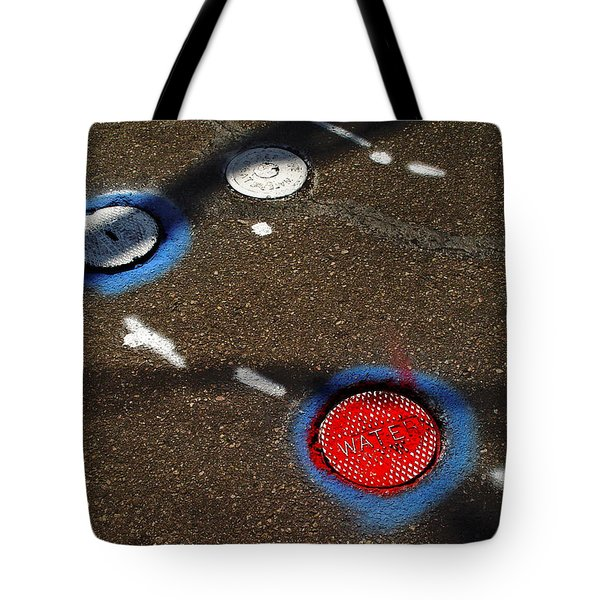 Colorful Storm Drain Covers And White Tote Bag