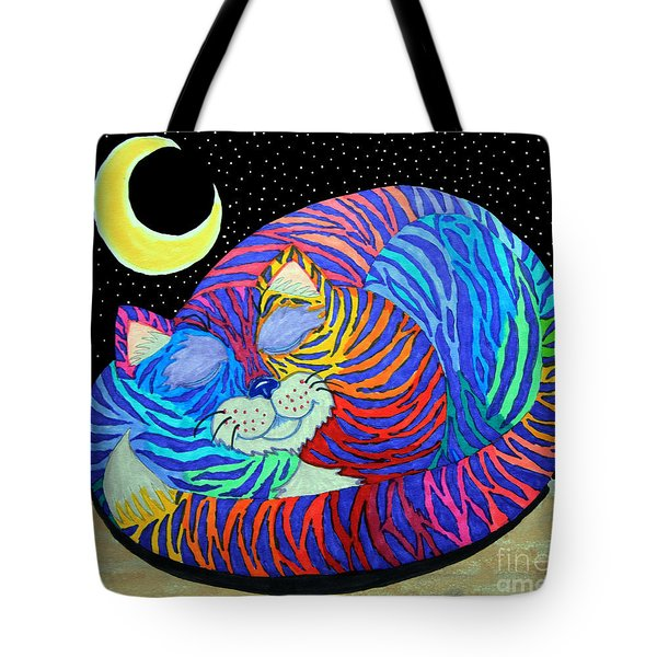Colorful Striped Cat In The Moonlight Tote Bag