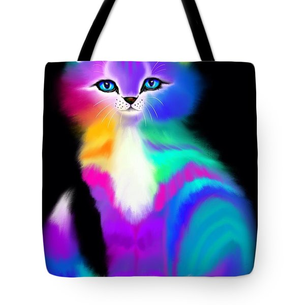 Colorful Striped Rainbow Cat Tote Bag