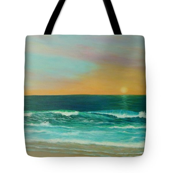 Colorful Sunset Beach Paintings Tote Bag by Amber Palomares