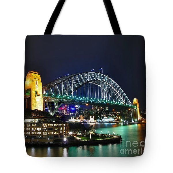 Colorful Sydney Harbour Bridge By Night Tote Bag