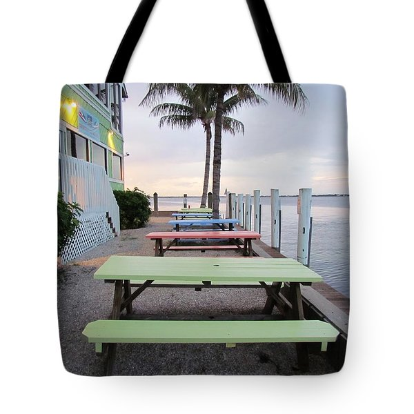 Tote Bag featuring the photograph Colorful Tables by Cynthia Guinn