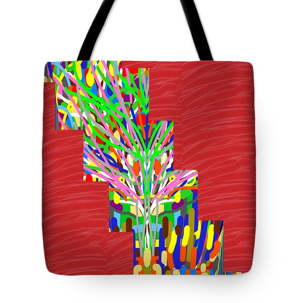Tote Bag featuring the photograph Colorful Tree Of Life Abstract Red Sparkle Base by Navin Joshi