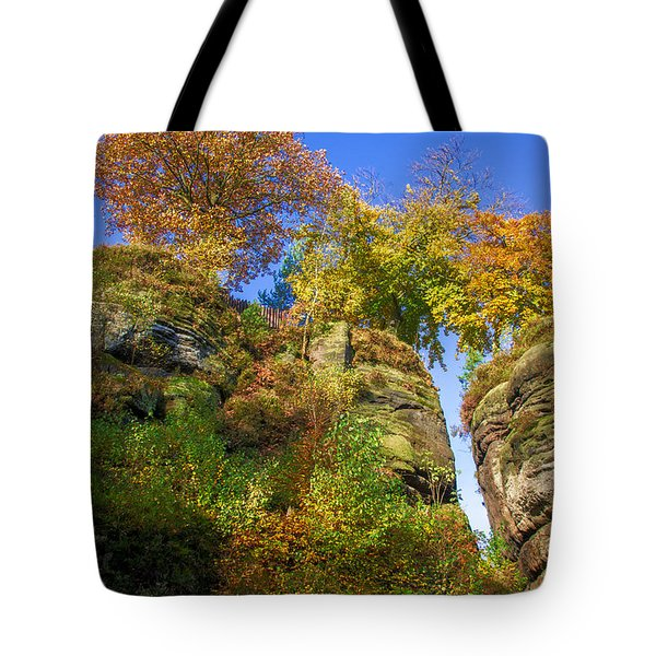 Colorful Trees In The Elbe Sandstone Mountains Tote Bag