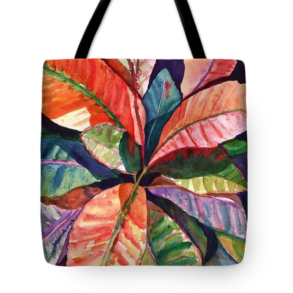 Tote Bag featuring the painting Colorful Tropical Leaves 1 by Marionette Taboniar