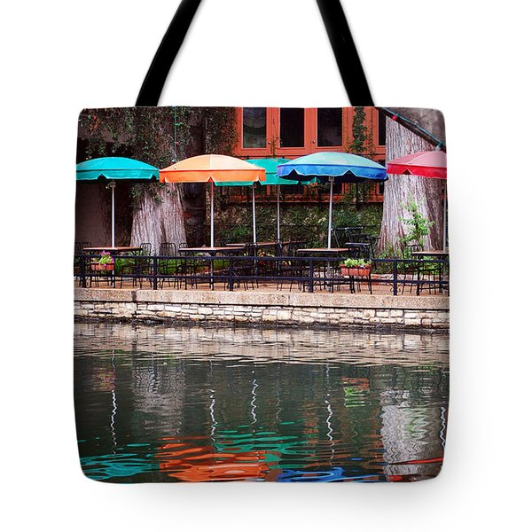 Colorful Umbrellas Reflected In Riverwalk Under Footbridge San Antonio Texas Vertical Format Tote Bag