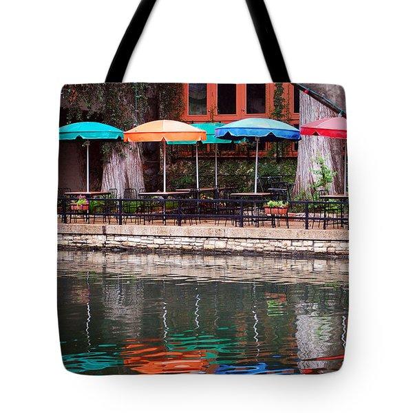 Colorful Umbrellas Reflected In Riverwalk Under Footbridge San Antonio Texas Vertical Format Tote Bag by Shawn O'Brien