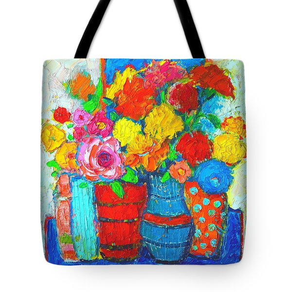 Colorful Vases And Flowers - Abstract Expressionist Painting Tote Bag