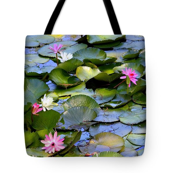 Colorful Water Lily Pond Tote Bag