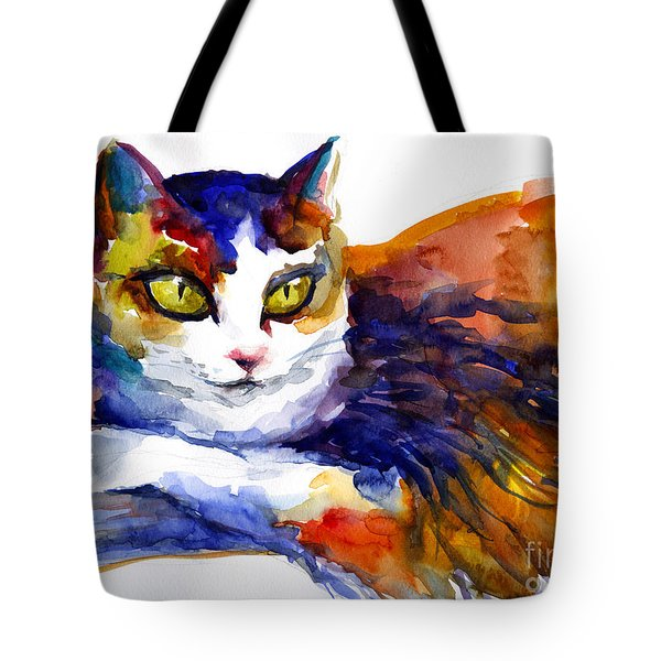Colorful Watercolor Cat On A Tree Painting Tote Bag
