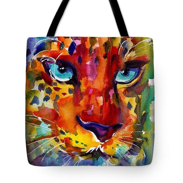 Colorful Watercolor Leopard Painting Tote Bag by Svetlana Novikova