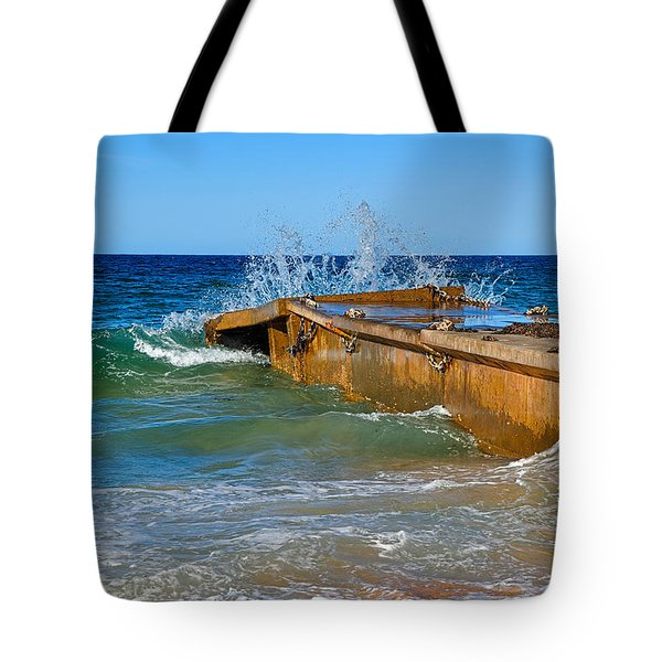 Colorful Waves Around Old Pier Tote Bag by Kaye Menner