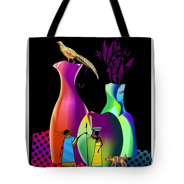 Tote Bag featuring the digital art Colorful Whimsical Stll Life by Arline Wagner