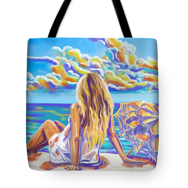 Colorful Woman At The Beach Tote Bag