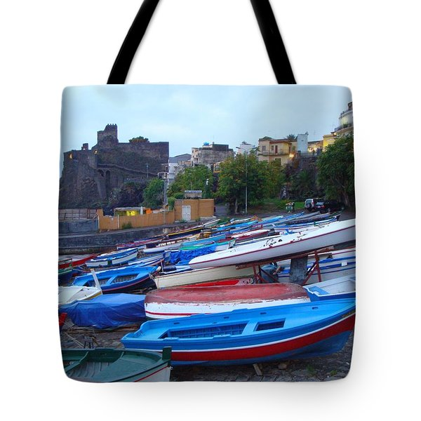 Colorful Wooden Fishing Boats Of Aci Castello Sicily With 11th Century Norman Castle Tote Bag by Jeff at JSJ Photography