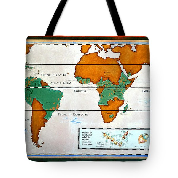 Colorful World Map Of Coffee Tote Bag