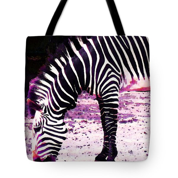 Colorful Zebra 2 - Buy Black And White Stripes Art Tote Bag by Sharon Cummings