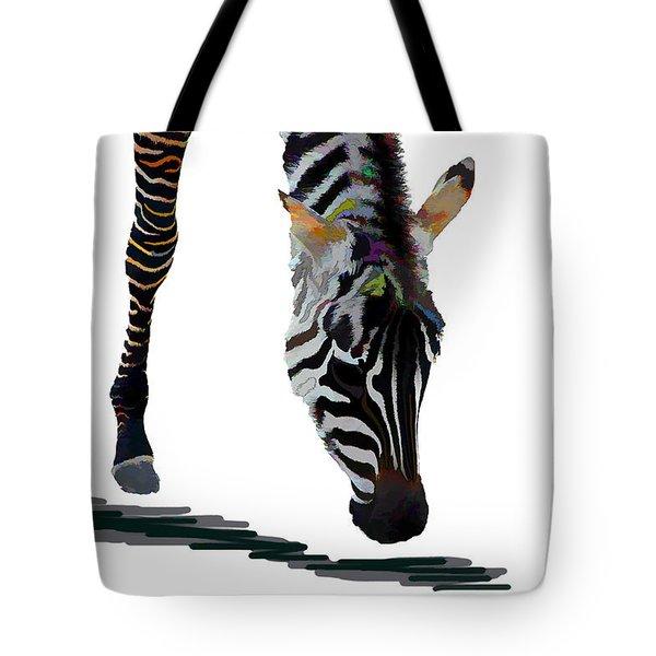 Tote Bag featuring the digital art Colorful Zebra 2 by Teresa Zieba
