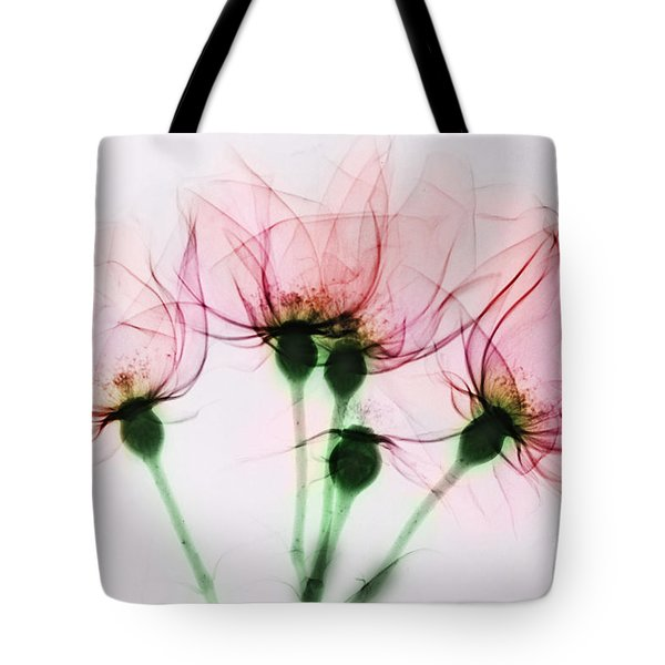 Colorized X-ray Of Roses Tote Bag by Scott Camazine