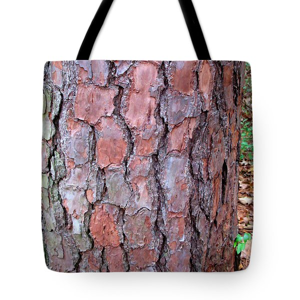 Tote Bag featuring the photograph Colors And Patterns Of Pine Bark by Connie Fox
