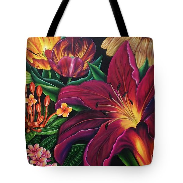 Tote Bag featuring the painting Colors Garden by Paula L
