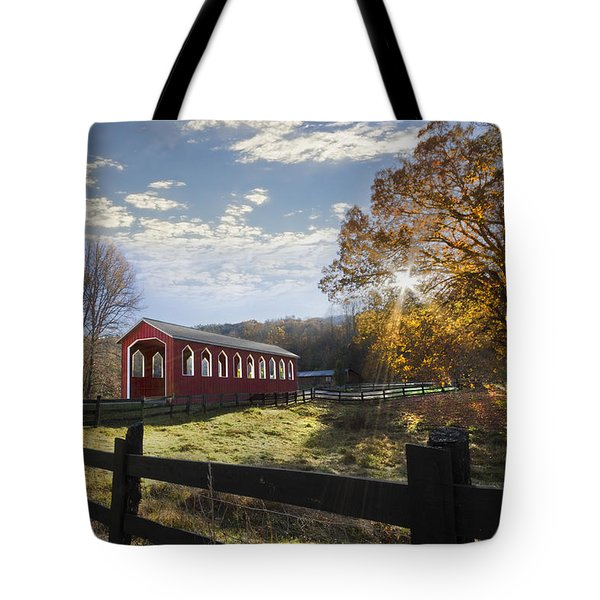 Colors Of Autumn Tote Bag by Debra and Dave Vanderlaan