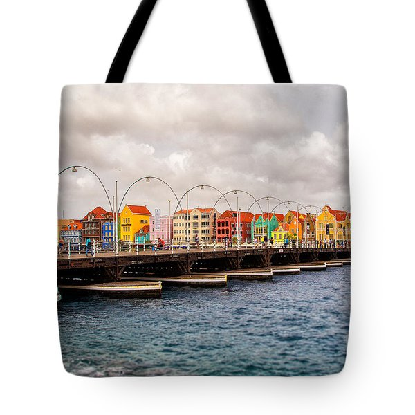 Colors Of Willemstad Curacao And The Foot Bridge To The City Tote Bag