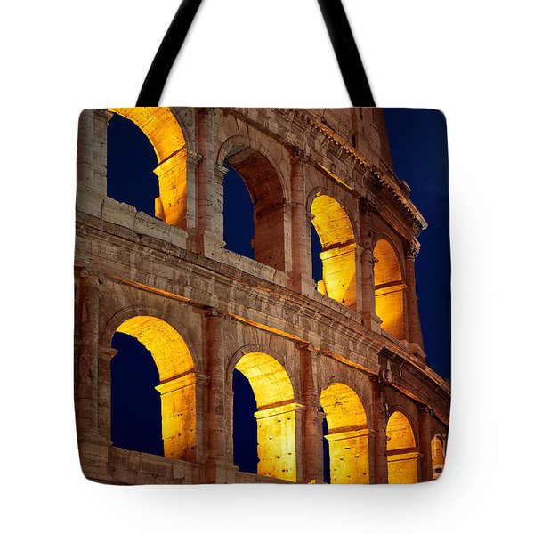 Colosseum And Moon Tote Bag by Inge Johnsson