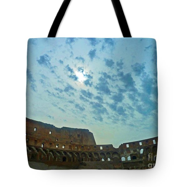 Tote Bag featuring the photograph Colosseum At Dusk - Rome by Cheryl Del Toro