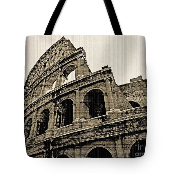 Tote Bag featuring the photograph Colosseum Rome - Old Photo Effect by Cheryl Del Toro