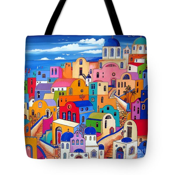 Tote Bag featuring the painting Colours In Santorini by Roberto Gagliardi