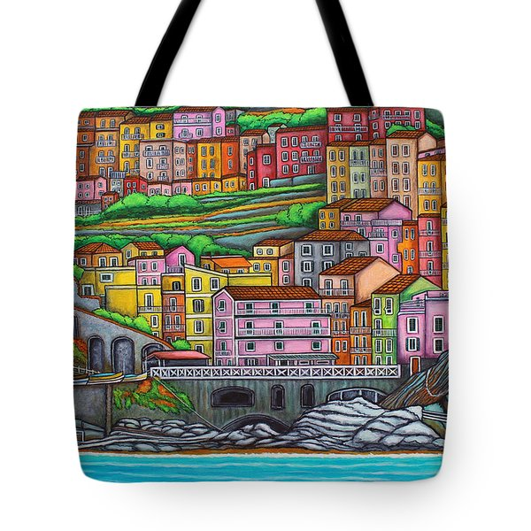 Colours Of Manarola Tote Bag by Lisa  Lorenz