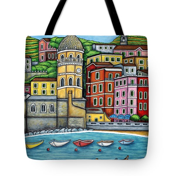 Colours Of Vernazza Tote Bag by Lisa  Lorenz