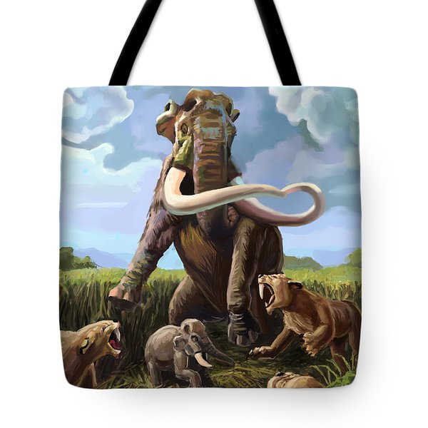 Columbian Mammoth And Saber-toothed Cats Tote Bag by Spencer Sutton