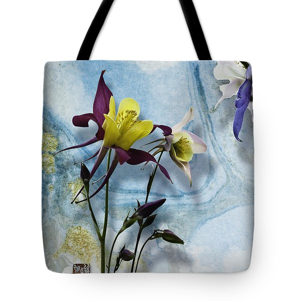 Columbine Blossom With Suminagashi Ink Tote Bag
