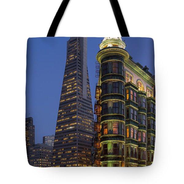 Columbus And Transamerica Buildings Tote Bag