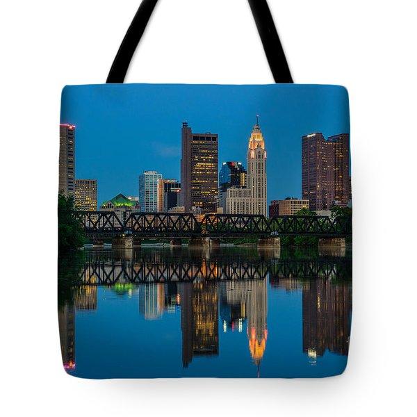 Columbus Ohio Night Skyline Photo Tote Bag