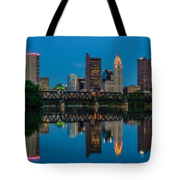 Columbus Ohio Night Skyline Photo Tote Bag