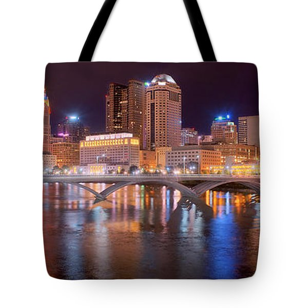 Columbus Skyline At Night Color Panorama Ohio Tote Bag