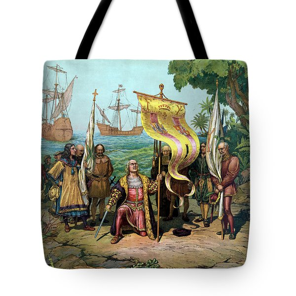 Columbus Taking Possession Of The New Country Tote Bag by War Is Hell Store