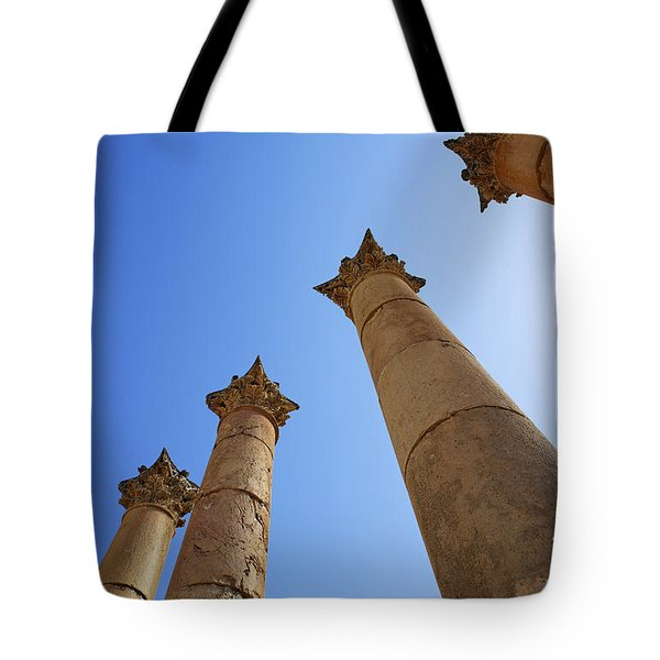 Columns At The Temple Of Artemis At Jerash Jordan Tote Bag by Robert Preston