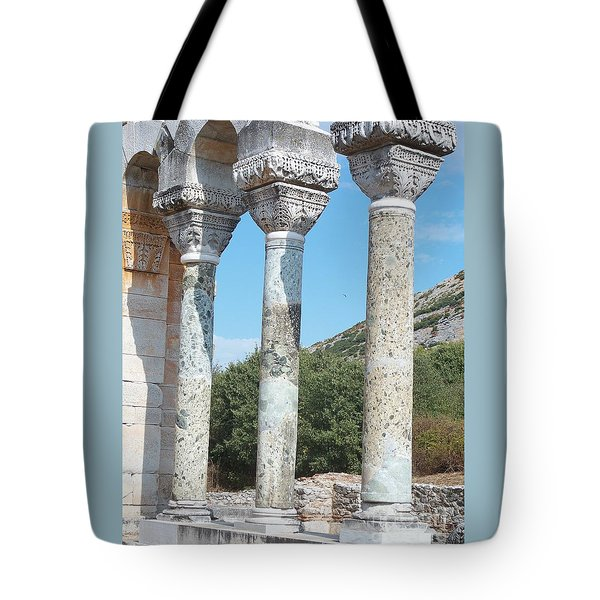 Tote Bag featuring the photograph Columns by Marilyn Zalatan
