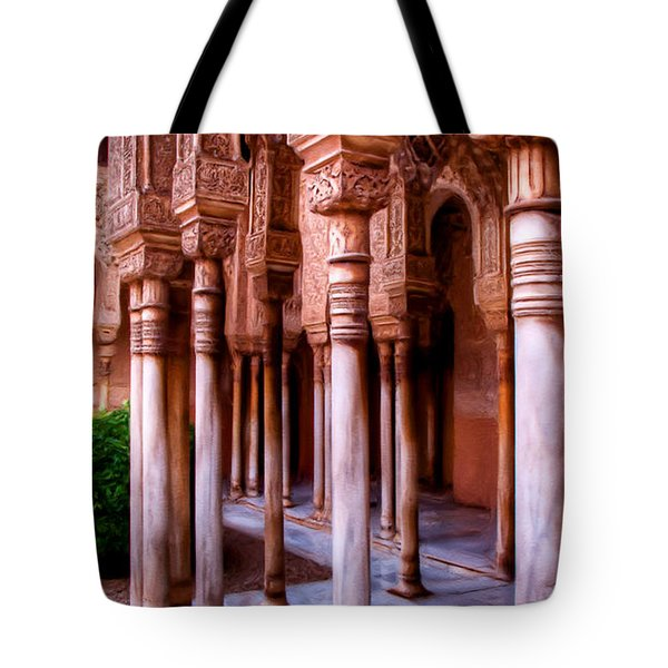 Columns Of The Court Of The Lions - Painting Tote Bag