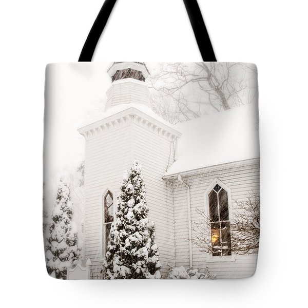 Tote Bag featuring the photograph White Christmas In Maryland Usa by Vizual Studio