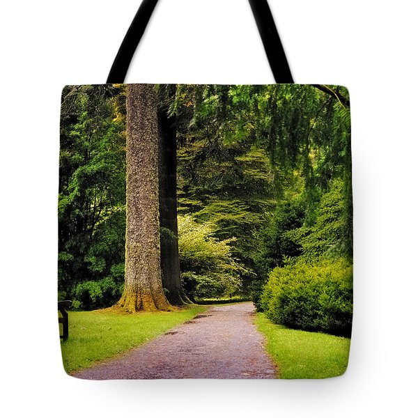 Come Sit With Me. Benmore Botanical Garden. Scotland Tote Bag by Jenny Rainbow