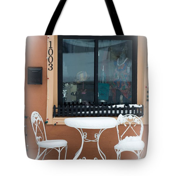 Come To Tea In Any Weather 1 - Spring - Snow Storm Tote Bag by Andee Design